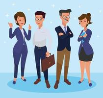 Group of business people isolated on transparent background. Different people with different styles. Simple flat cartoon style. vector