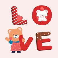 Illustration draw character design couple valentine of cat and word love. Pink Red and chocolate color with pattern shade. vector