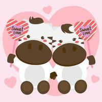 Cute isolated animal. multiple cow and calf. Wild animal on transparen background. vector