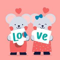 Romantic isolated icon of a pair loving of cats hold love. in dark background. they are showing their love in part. vector