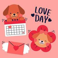 Beautiful Doodle love in calendar of valentine day, Flying envelop toward, Decorated with different style. vector