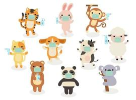Big set of isolated animals. Vector collection of activity, wearing face mask, sanitizing, temperature checking, funny animals. Cute animals cat, rabbit, dog, monkey, cow, tiger, Koala, bear, panda in cartoon style.