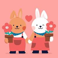 Romantic Icon of a pair loving of Rabbits  hold flower with the top. in dark background. vector