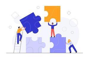 personas conectando elementos de rompecabezas. concepto de negocio. metáfora del equipo. trabajo en equipo empresarial con piezas vector