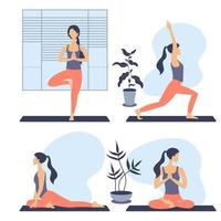 Set of healthy young woman practicing yoga in living room, relaxing weekend at home. Vector illustration. Workout, exercise, fitness, indoor, meditation, lifestyle, stay at home concept