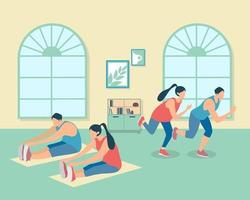Healthy young group of people practicing yoga . Vector illustration. Workout, exercise, fitness, indoor, meditation, lifestyle, stay at home concept