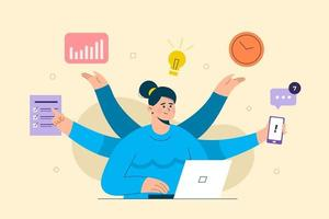Business people dealing multi task new idea. working on laptop. The concept of business goals, success, satisfying achievement. Isolated vector with light background.