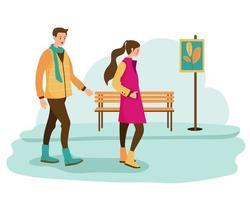 pareja caminando en el parque de invierno. paisaje con naturaleza y plantas, ramas de arbustos. par caminando fuera del vector. vector