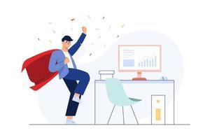 hombre de negocios exitoso celebrando una victoria. personaje plano 2d. concepto de diseño web. gran vector de ilustración aislada con fondo blanco.