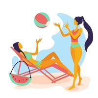 Two Woman In Bikini, Full Length Long Leg Girls Wear Hat Happy Smiling Flat Vector Illustration