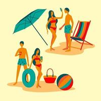 Two couple of boy and girl In beach dress, Full Length vector illustration of happy beach scene.