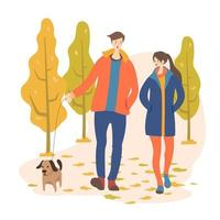 Young couple walking together vector drawing. Romantic date. Boyfriend and girlfriend hiking. People in love. Minimalistic contour illustration