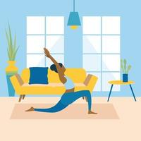 Healthy young woman practicing yoga in living room, relaxing weekend at home. Vector illustration. Workout, exercise, fitness, indoor, meditation, lifestyle, stay at home concept