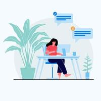 Work at home concept design. Freelance woman working on laptop at her house, dressed in home clothes. Vector illustration isolated on white background. Online study, education.