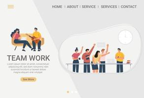 Corporate website home page theme. Group discussion and finalization for a new project that will be done by our team. vector