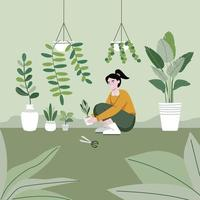 The girl is planting trees in the garden with care. Flat vector illustration. Householding works and human activity banner.