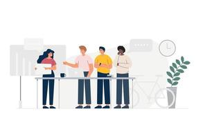 Group of people standing together, community and togetherness concept to deal a new project. vector