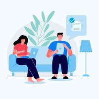 Young Girl and boy Sitting in Sofa. Girl work fo office and boy sending file to other through the tab computer. Cartoon Flat Vector Illustration