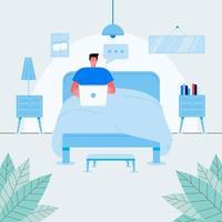 Chico independiente relajado sentado en la cama con ilustración plana de vector de vista frontal de computadora portátil. hombre moderno que trabaja de forma remota desde el dormitorio aislado en blanco. Hombre alegre navegando por internet o charlando en casa