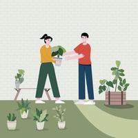 A boy helps a girl with various tasks in the garden. Flat vector illustration. Householding works and human activity banner.
