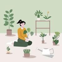 The girl is sitting with different kinds of trees and garden materials. Flat vector illustration of a household girl sitting inside the house