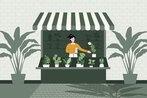 A seller is sitting in the shop selling different varieties of trees. Flat vector illustration. Householding works and human activity banner.