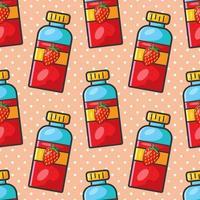 strawberry juice bottle seamless pattern illustration vector
