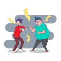 Big isolated  two Young men fighting between  themselves  with anger  Cartoon character vector illustration.