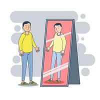 Depressed man reacting positive covering face emotions infront mirror feeling depression mental disorder concept portrait vector illustration