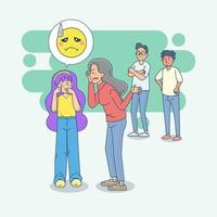 Mother scolds her girl. Mother angry and yelling at her girl and blame her. Mom scolds children. big isolated illustration vector with light background.