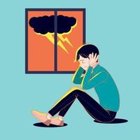Big isolated young man suffering from the fear of thunderstorm. Cartoon illustration vector with dark background