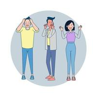 Group of people showing madness about something to figure out how it happen. Big isolated illustration vector with white background
