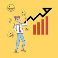 Business growth vector concept. Business man celebrating growth with happiness.  Flat Vector illustration. Achievement  Businessman happy in office with dark background
