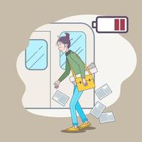 Tired businesswoman going home after office with low energy battery. Big isolated illustration vector with light background