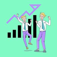 Business growth vector concept. Business people celebrating success.  Flat Vector illustration. Achievement  Businessman  happy in office with light background