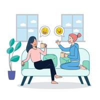 Two girls sitting on couch dringking coffee and gossiping inside home. Big isolated illustration vector with white background