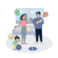 Parent fighting ague due to child broke plate during play. Big isolated illustration vector with white background.