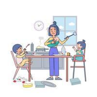 gran mamá joven aislada tratando de alimentar el desayuno tres niños. vector de ilustración con fondo blanco.