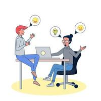 Business people discussion planning vision positive employee. Big isolated illustration vector with white background.