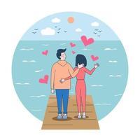 Loving man is carerying his woman. Happy smiling joyful white couple. Cartoon vector illustration isolated on white background.