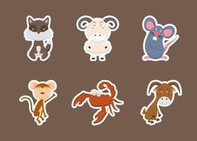 Colorful set of cute farm animals and objects, vector stickers with domestic animals