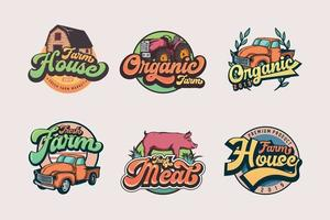 Set of vintage farmer logo templates vector
