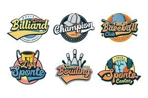 Set of colorfull vintage sport logo vector