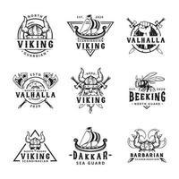 conjunto de etiquetas vikingas, emblemas y logotipos vector