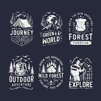 Set of camping and outdoor logo vector
