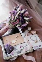 elegant bridal bouquet of dried flowers photo