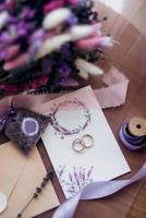 wedding rings with wedding decor photo