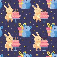 Happy birthday seamless pattern Cute animals celebrating together Rabbit koala bear Holiday decoration present cake vector