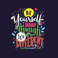Colorful lettering and quote vector