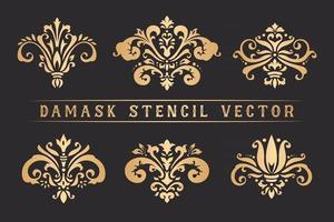 Set of Damask stencil vector